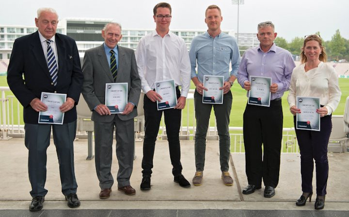 Doug, Brian, Tom, John (Steep CC), Dean and Marie with their certificates (pic: Dave Vokes Photography)