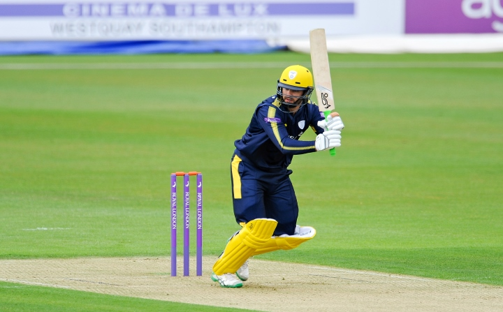 Rossouw flicks the ball off his legs during a One-Day Cup clash with Glamorgan at the Ageas Bowl in May 2017